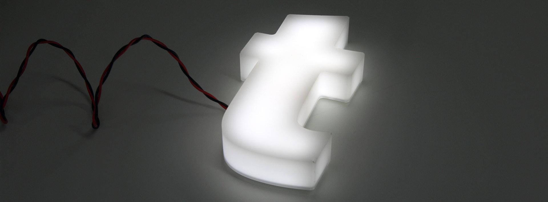 Lettrage 3d avec éclairage interne à Leds